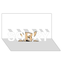 Peeping Chihuahua SORRY 3D Greeting Card (8x4)