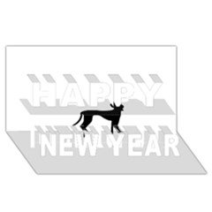 Cirneco Delletna Silhouette Happy New Year 3D Greeting Card (8x4)
