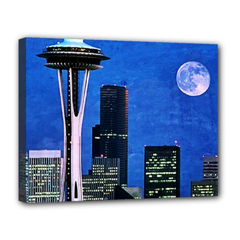 Blue Seattle Space Needle Canvas 14  x 11
