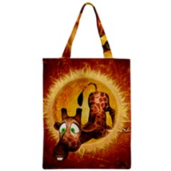 I m Waiting For You, Cute Giraffe Zipper Classic Tote Bags