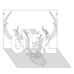 Modern Geometric Christmas Deer Illustration GIRL 3D Greeting Card (7x5)
