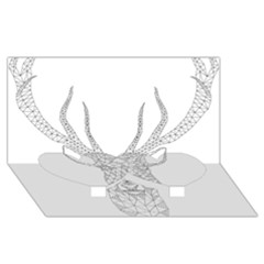 Modern Geometric Christmas Deer Illustration Twin Heart Bottom 3d Greeting Card (8x4)