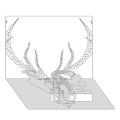 Modern Geometric Christmas Deer Illustration Love Bottom 3d Greeting Card (7x5)