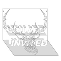 Modern Geometric Christmas Deer Illustration You Are Invited 3d Greeting Card (7x5)