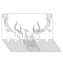 Modern Geometric Christmas Deer Illustration PARTY 3D Greeting Card (8x4)