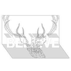 Modern Geometric Christmas Deer Illustration BELIEVE 3D Greeting Card (8x4)