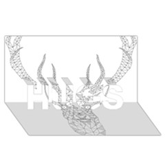 Modern Geometric Christmas Deer Illustration HUGS 3D Greeting Card (8x4)