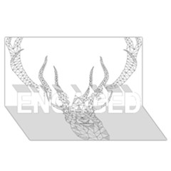Modern Geometric Christmas Deer Illustration ENGAGED 3D Greeting Card (8x4)
