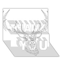 Modern Geometric Christmas Deer Illustration THANK YOU 3D Greeting Card (7x5)