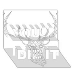 Modern Geometric Christmas Deer Illustration You Did It 3D Greeting Card (7x5)