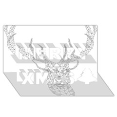 Modern Geometric Christmas Deer Illustration Merry Xmas 3d Greeting Card (8x4)