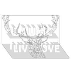Modern Geometric Christmas Deer Illustration Laugh Live Love 3d Greeting Card (8x4)