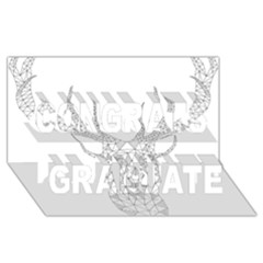 Modern Geometric Christmas Deer Illustration Congrats Graduate 3D Greeting Card (8x4)