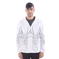Modern Geometric Christmas Deer Illustration Hooded Wind Breaker (Men)