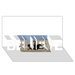 Bernese Mountain Dog Laying On Beach BELIEVE 3D Greeting Card (8x4)