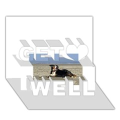 Bernese Mountain Dog Laying On Beach Get Well 3D Greeting Card (7x5)