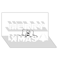 Peeping White Havanese Merry Xmas 3D Greeting Card (8x4)