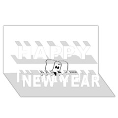 Peeping White Havanese Happy New Year 3D Greeting Card (8x4)