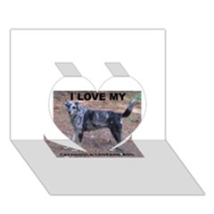 Catahoula Love With Picture Heart 3D Greeting Card (7x5)