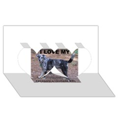Catahoula Love With Picture Twin Hearts 3D Greeting Card (8x4)