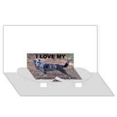 Catahoula Love With Picture Twin Heart Bottom 3D Greeting Card (8x4)