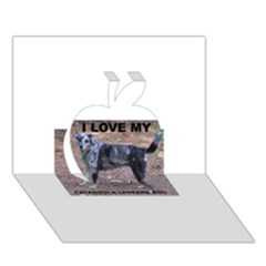 Catahoula Love With Picture Apple 3D Greeting Card (7x5)