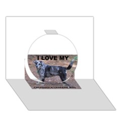 Catahoula Love With Picture Circle 3D Greeting Card (7x5)