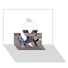 Catahoula Love With Picture Ribbon 3D Greeting Card (7x5)