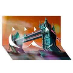 London Tower Bridge, Bokeh Orange Twin Hearts 3D Greeting Card (8x4)