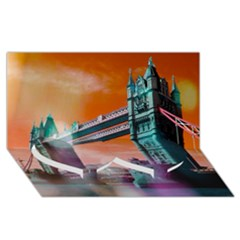 London Tower Bridge, Bokeh Orange Twin Heart Bottom 3D Greeting Card (8x4)