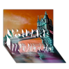 London Tower Bridge, Bokeh Orange YOU ARE INVITED 3D Greeting Card (7x5)