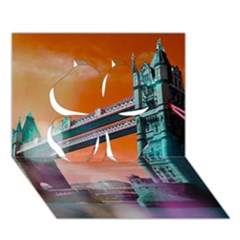 London Tower Bridge, Bokeh Orange Clover 3D Greeting Card (7x5)