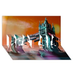London Tower Bridge, Bokeh Orange BEST SIS 3D Greeting Card (8x4)