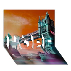 London Tower Bridge, Bokeh Orange HOPE 3D Greeting Card (7x5)
