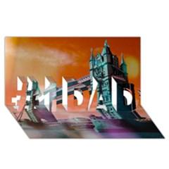London Tower Bridge, Bokeh Orange #1 Dad 3d Greeting Card (8x4)