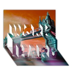 London Tower Bridge, Bokeh Orange WORK HARD 3D Greeting Card (7x5)