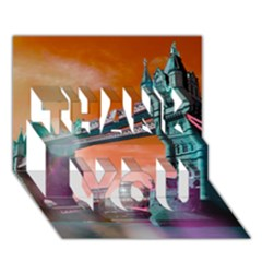 London Tower Bridge, Bokeh Orange Thank You 3d Greeting Card (7x5)