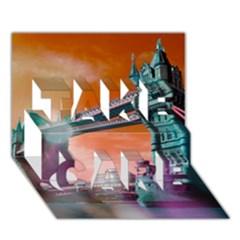 London Tower Bridge, Bokeh Orange TAKE CARE 3D Greeting Card (7x5)
