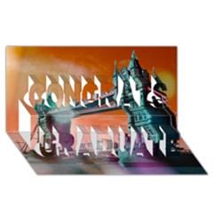 London Tower Bridge, Bokeh Orange Congrats Graduate 3D Greeting Card (8x4)