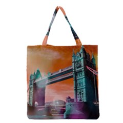 London Tower Bridge, Bokeh Orange Grocery Tote Bags