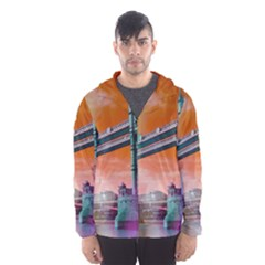 London Tower Bridge, Bokeh Orange Hooded Wind Breaker (Men)