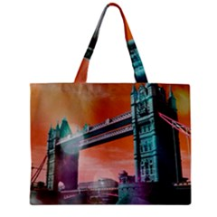 London Tower Bridge, Bokeh Orange Zipper Tiny Tote Bags