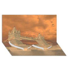 London Tower Bridge Special Effect Twin Heart Bottom 3d Greeting Card (8x4)