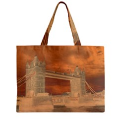 London Tower Bridge Special Effect Zipper Tiny Tote Bags