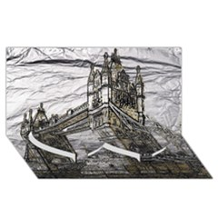 Metal Art London Tower Bridge Twin Heart Bottom 3D Greeting Card (8x4)