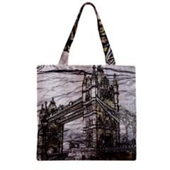 Metal Art London Tower Bridge Zipper Grocery Tote Bags