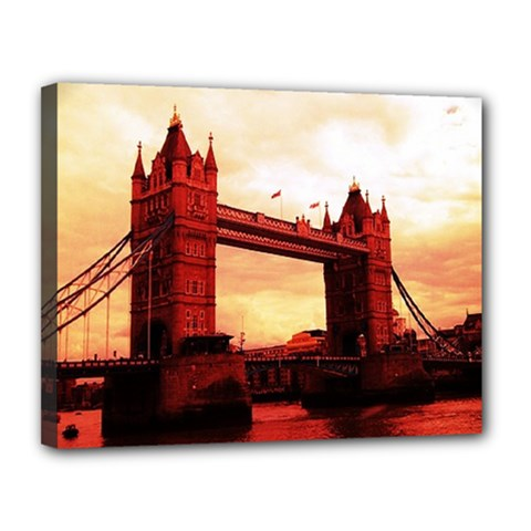 London Tower Bridge Red Canvas 14  X 11