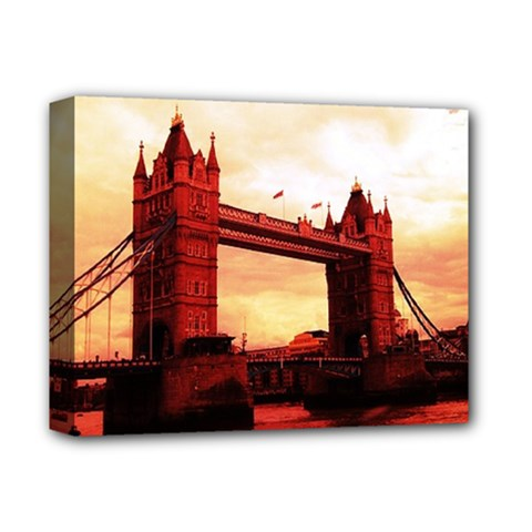 London Tower Bridge Red Deluxe Canvas 14  x 11