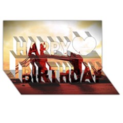 London Tower Bridge Red Happy Birthday 3d Greeting Card (8x4)