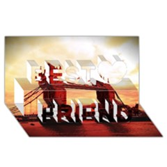 London Tower Bridge Red Best Friends 3D Greeting Card (8x4)